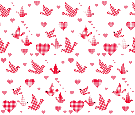 RED GINGHAM BIRDS N HEARTS fabric by bluevelvet on Spoonflower - custom fabric
