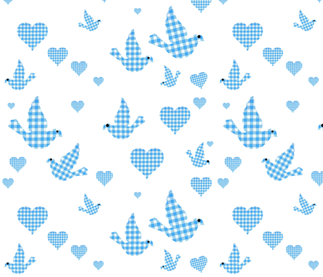 GINGHAM BLUEBIRDS fabric by bluevelvet on Spoonflower - custom fabric