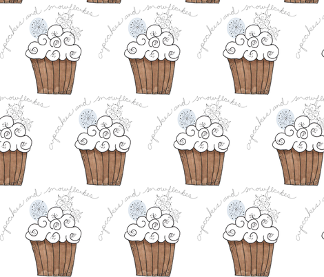 Cupcakes and Snowflakes fabric by cbronsky on Spoonflower - custom fabric