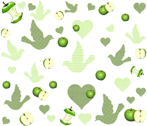 COUNTRY GREEN APPLES AND GINGHAM BIRDS fabric by bluevelvet on Spoonflower - custom fabric
