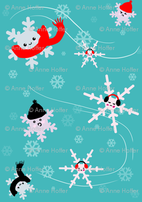 snowflakes in winter gear