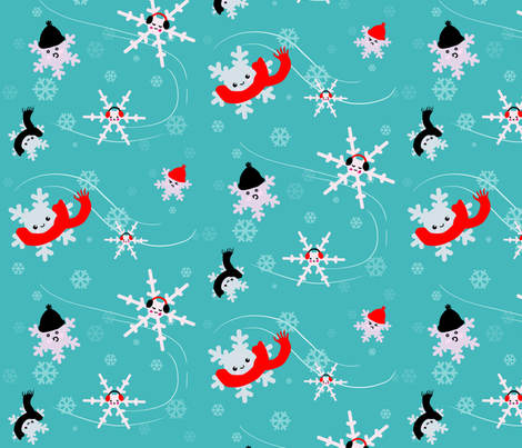 snowflakes in winter gear fabric by ninniku on Spoonflower - custom fabric