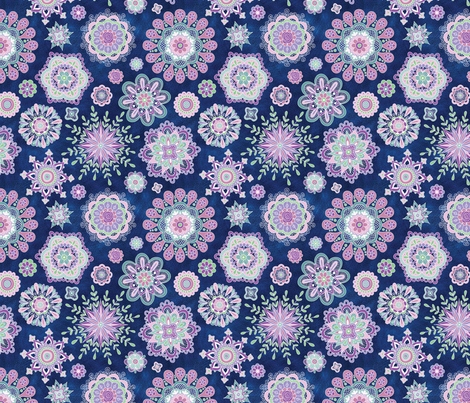 SnowFlowers at Midnight fabric by groovity on Spoonflower - custom fabric