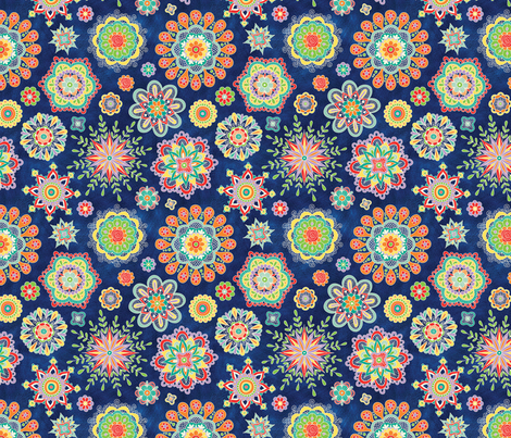 Folky Flora-blue fabric by groovity on Spoonflower - custom fabric