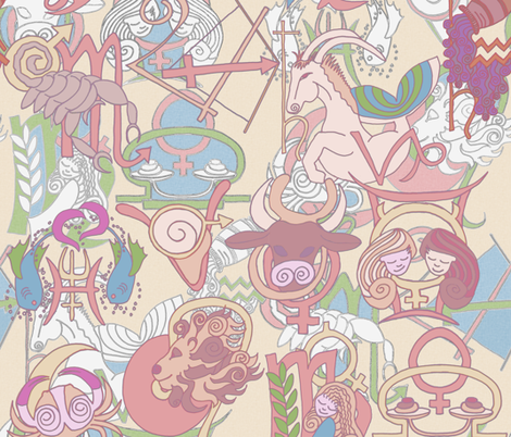 zodiac_strawberry fabric by wiccked on Spoonflower - custom fabric