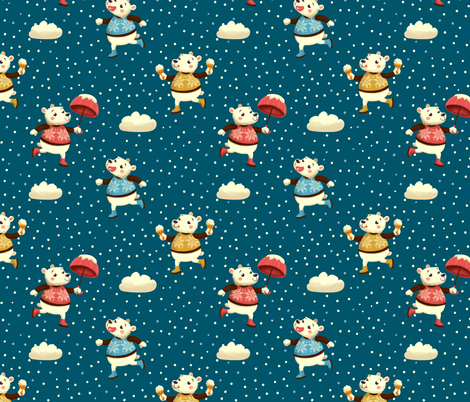 Bears Playing in the snow fabric by irrimiri on Spoonflower - custom fabric