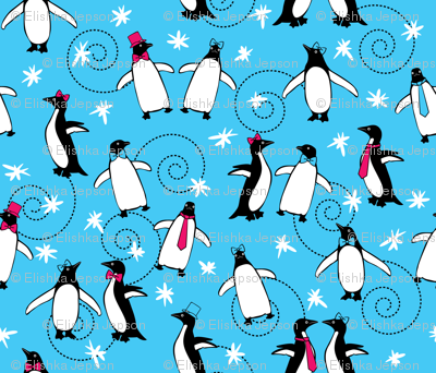 Penguins Puttin' On the Ritz (Turquoise)