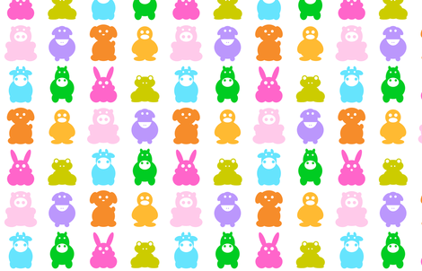 Animals multicolor on white fabric by pimpa on Spoonflower - custom fabric