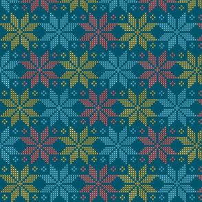 star flower knittery | red - blue - yellow
