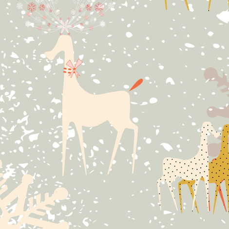 Snowflake Antlers fabric by chickoteria on Spoonflower - custom fabric
