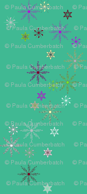 Festive Snow Flakes on Teal
