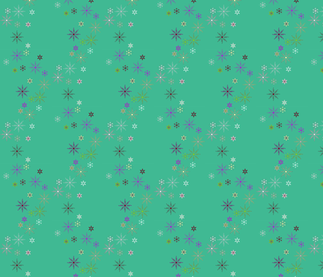 Festive Snow Flakes on Teal fabric by yewtree on Spoonflower - custom fabric