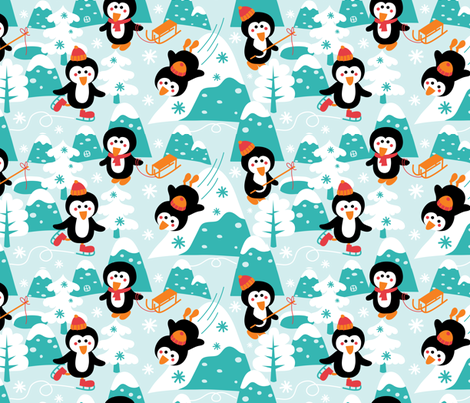 Let is snow in pinguin-land fabric by bora on Spoonflower - custom fabric