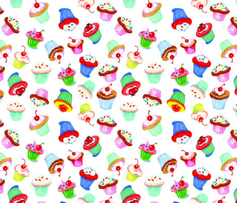 cupcake_repeat_on_white fabric by mcuetara on Spoonflower - custom fabric