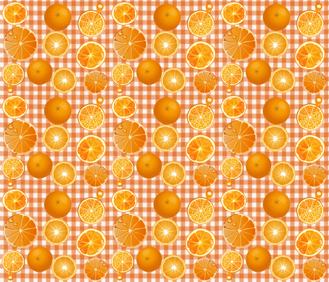 ORANGE GROVE GINGHAM SLICES fabric by bluevelvet on Spoonflower - custom fabric