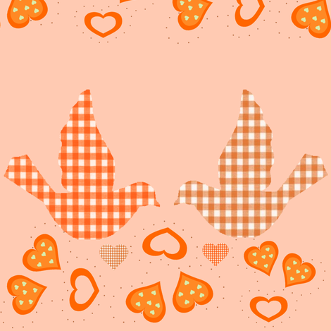 LOVE BIRDS IN THE ORANGE GROVE fabric by bluevelvet on Spoonflower - custom fabric