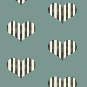 Stripey Hearts in Green