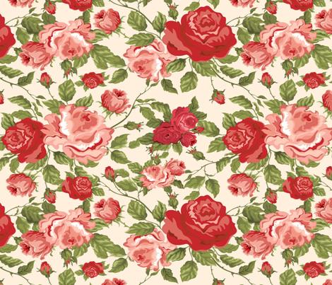 MISS KITTY'S ROSES fabric by bluevelvet on Spoonflower - custom fabric