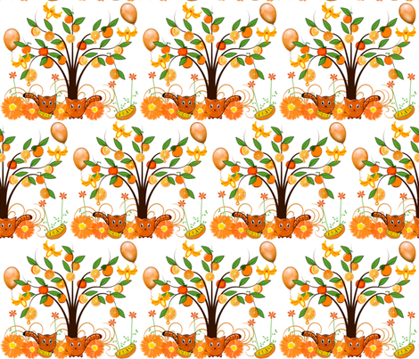 FUN IN THE ORANGE GROVE fabric by bluevelvet on Spoonflower - custom fabric