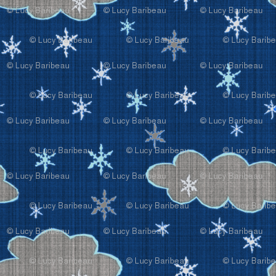 Snowflakes evening sky