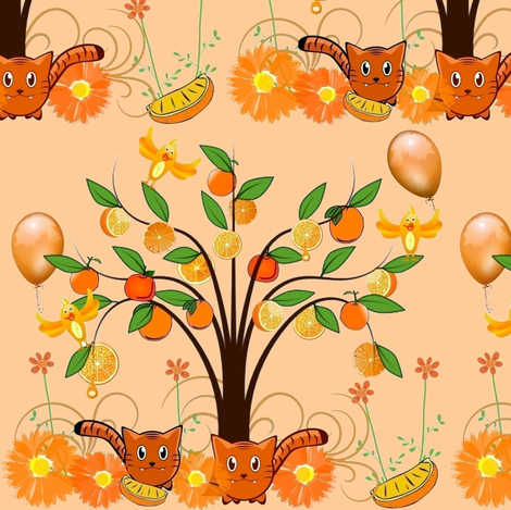 ORANGE GROVE FRIENDS fabric by bluevelvet on Spoonflower - custom fabric
