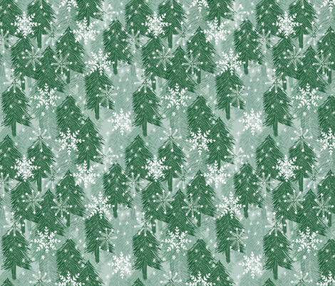 snowflakes in the forest fabric by jeannemcgee on Spoonflower - custom fabric