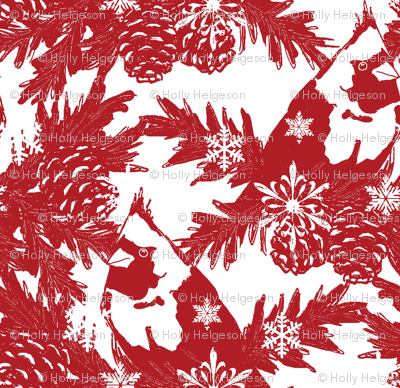 Snowflakes & Cardinals red