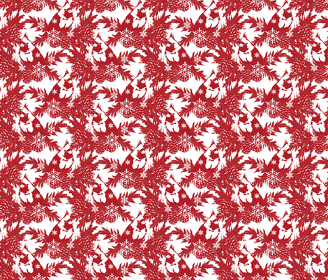 Snowflakes & Cardinals red fabric by holly_helgeson on Spoonflower - custom fabric