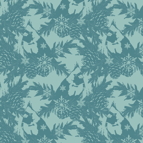 Snowflakes & Cardinals dk blue fabric by holly_helgeson on Spoonflower - custom fabric