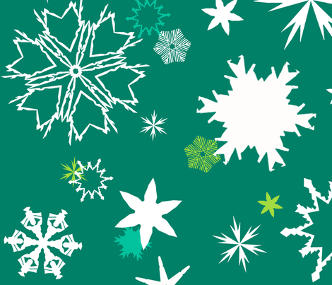 Sprouting Snowflakes fabric by sheila's_corner on Spoonflower - custom fabric