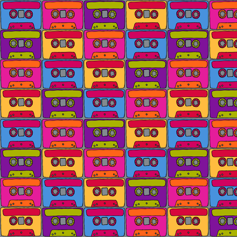 CurlyPops - Technicolour Cassettes grey base fabric by curlypops on Spoonflower - custom fabric
