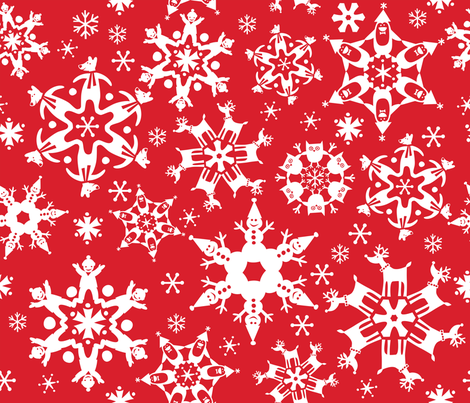 SNOWFLAKE DOUBLE TAKE fabric by bzbdesigner on Spoonflower - custom fabric
