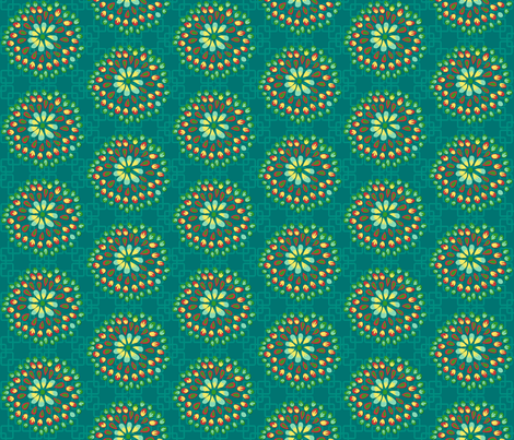 Flight of the Peacock  - teal coordinating2 fabric by irrimiri on Spoonflower - custom fabric