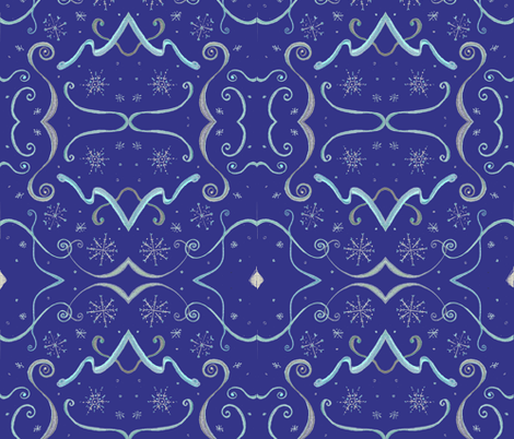 Art_Deco_blue_snowflake fabric by rennata on Spoonflower - custom fabric