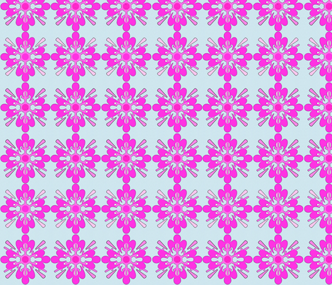 Pink_snowflake_on_blue fabric by heaven-lee on Spoonflower - custom fabric