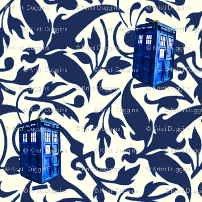 Doctor Who Inspired Blue & White TARDIS Floral