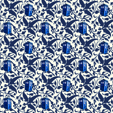 Doctor Who Inspired Blue & White TARDIS Floral fabric by bohobear on Spoonflower - custom fabric