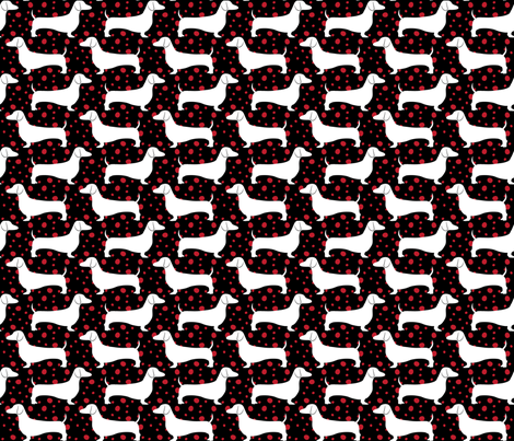 Polka Dachshunds (Black and Red) fabric by robyriker on Spoonflower - custom fabric