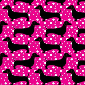 Polka Dachshunds (Pink and Black)