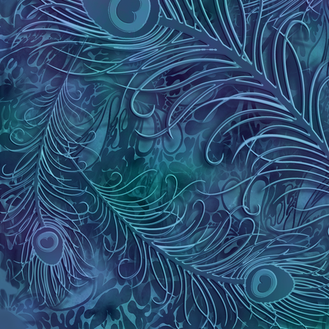 batik_peacock001_blue fabric by fabricfantasy on Spoonflower - custom fabric