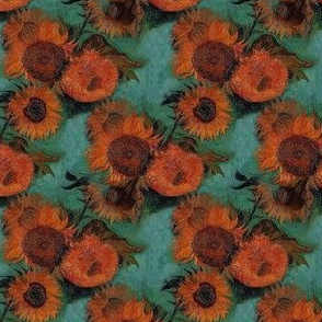 Van Gogh's Sunflowers (teal background-larger)