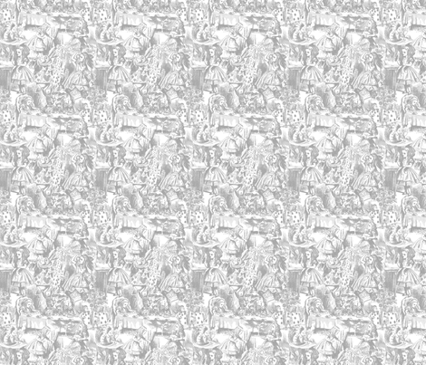 Alice's Adventures in Toile - Gray fabric by risarocksit on Spoonflower - custom fabric