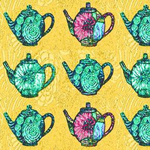 green teapots on yellow