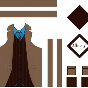 10th Doctor Apron (Brown Suit) and Hot Pad set