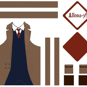 10th Doctor Apron (Blue Suit) & Hot Pad Set