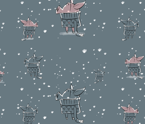 I'm Dreaming of a Snowy Piglet fabric by awooda21 on Spoonflower - custom fabric