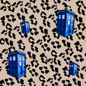 Doctor Who Inspired Tan Leopard TARDIS Police Boxes