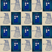 Doctor Who Inspired Police Box and Daleks on Cappuccino cream dots