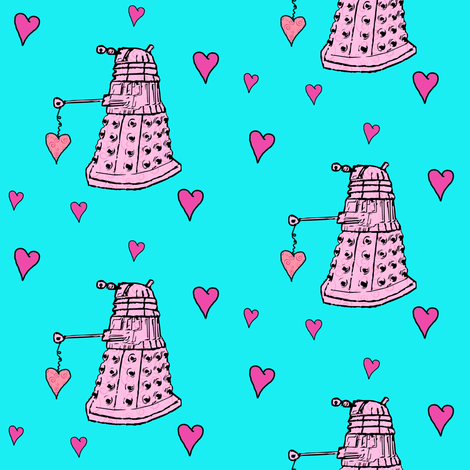 Doctor Who Inspired Daleks & Hearts fabric by bohobear on Spoonflower - custom fabric