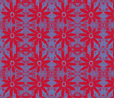 Red & Blue Daisy fabric by eyespotdesigns on Spoonflower - custom fabric